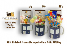 Doctor Who Tardis  Mug with/without a Time Travelling selection of 1960's, 70's or 1980's retro Sweets.